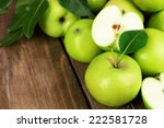 Ripe Green Apples On Wooden...