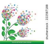 social network floral design | Shutterstock .eps vector #222587188