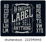 Stock vector retro font set with ornament frame for making label design 222590443