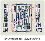 retro font set with ornament... | Shutterstock .eps vector #222590446