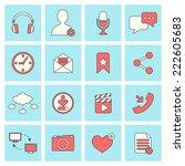 social network icons flat line... | Shutterstock .eps vector #222605683