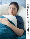 Small photo of Teenage girl suffering from acute myeloid leukemia