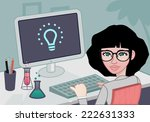 scientist working in her desk | Shutterstock .eps vector #222631333
