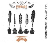 vintage retro old nib pen...   Shutterstock .eps vector #222634444