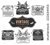 vintage retro old typewriter... | Shutterstock .eps vector #222634453