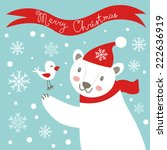 cute christmas card with white... | Shutterstock .eps vector #222636919