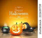 modern halloween greeting card... | Shutterstock .eps vector #222639739