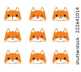 cute foxes pixel emoticons set. ... | Shutterstock .eps vector #222641014