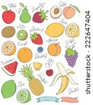hand drawn fruits | Shutterstock .eps vector #222647404