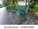 Green Painted Steel Bench...