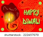 diwali red greeting card.... | Shutterstock .eps vector #222657070