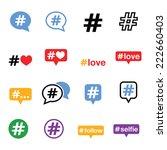 hashtag  social media icons set    Shutterstock .eps vector #222660403