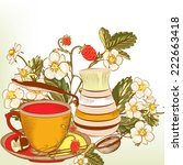 tea or coffee vector background ... | Shutterstock .eps vector #222663418