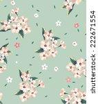 seamless vintage flower vector... | Shutterstock .eps vector #222671554