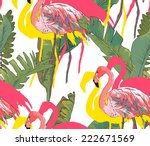 seamless palms with flamingo... | Shutterstock .eps vector #222671569