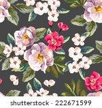 Seamless Vintage Floral Vector...