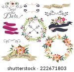 hand drawn romantic flower collection-wreath,curl,arrow,frame,save the date