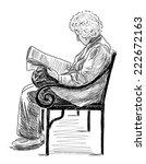 elderly woman reading a...   Shutterstock . vector #222672163