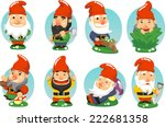 Garden Gnome Cartoon Set Of...