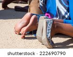 pilgrims praying legs | Shutterstock . vector #222690790