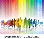 crowd of shopping people in a... | Shutterstock .eps vector #222699853