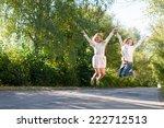 two happy girl friends funny... | Shutterstock . vector #222712513