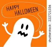 cute ghost monster with speech... | Shutterstock .eps vector #222721336