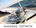 Winch With Rope On The Boat....