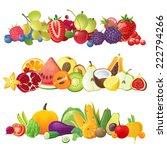 3 fruits vegetables and berries ... | Shutterstock .eps vector #222794266