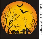 halloween party scary full moon ... | Shutterstock .eps vector #222813094