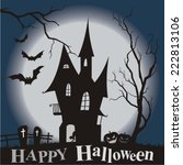 halloween party scary full moon ... | Shutterstock .eps vector #222813106