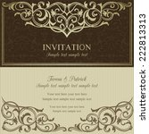 baroque invitation card in old... | Shutterstock .eps vector #222813313