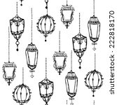 vintage lanterns seamless... | Shutterstock .eps vector #222818170