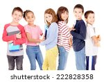 little kids at school isolated... | Shutterstock . vector #222828358