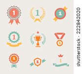 first place badges and  ribbons ... | Shutterstock .eps vector #222842020