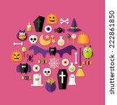 illustration of halloween flat... | Shutterstock .eps vector #222861850