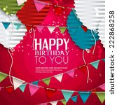birthday card with balloons in...   Shutterstock .eps vector #222868258
