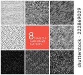 8 seamless hand drawn patterns | Shutterstock .eps vector #222869029