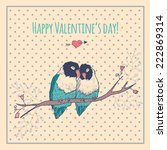 happy valentines day card with... | Shutterstock .eps vector #222869314