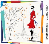 the girl in a red coat  fall ... | Shutterstock .eps vector #222874864
