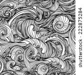 seamless wave hand drawn... | Shutterstock .eps vector #222875284
