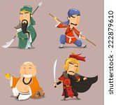 chinese heroes cartoon... | Shutterstock .eps vector #222879610
