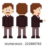 pixel art businessman sprite...   Shutterstock .eps vector #222880783