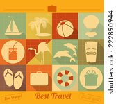 flat icons set   travel items... | Shutterstock . vector #222890944
