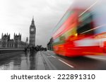london  the uk. red bus in... | Shutterstock . vector #222891310