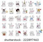 vector set of rabbits in smiles | Shutterstock .eps vector #222897463