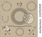 hand drawn frames and laurels.... | Shutterstock .eps vector #222902509
