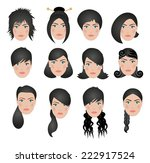different types of hairstyles | Shutterstock .eps vector #222917524
