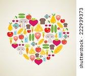 i love healthy food. vector...