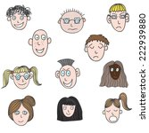 vector set with faces of... | Shutterstock .eps vector #222939880